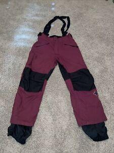 Burton Outlaw Mens Snowboard Ski Pants Suspenders Maroon Black Size Large