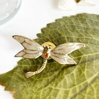 Dragonfly Enamel Brooch Pin Gold Tone Estate DR2
