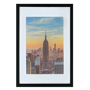 Frame Amo 16x24 Black Picture Frame with White Mat for 12x18, 1 inch border