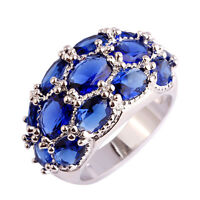 Blue Sapphire & White Topaz Gemstone SIlver Ring Size 6 7 8 9 10 11 12 13 Gifts