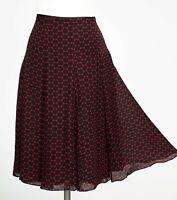 Hobbs Skirt 12 Black & Red Spotted Flared Polka Dot Midi 100% Silk Full Circle