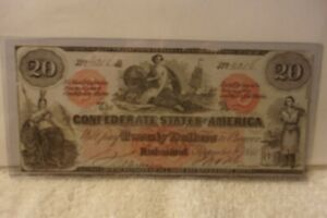 Contemporary Counterfeit Confederate $20 Note Curency1861 CT 19/137  A rarity 6
