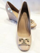NWT TORY BURCH NUDE TAN  PATENT LEATHER WEDGE  SLIP ON SHOES  SIZE:6.5