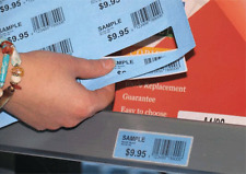 Shelf Tags/Labels 18 per A4 sheet. Blue, permanent adhesive 73mm X 24mm