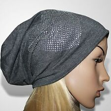 Long Beanie Mütze Damen Wintermütze Skimütze Damenmütze Herz Grau