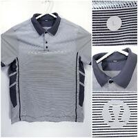 Lululemon Mens Large Vented Golf Shirt Polo Black Gray Pinstripe