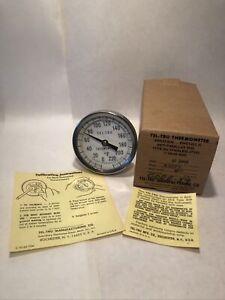 "TEL-TRU Thermometer GT 300R 0-220F 1/2"" NPT 3"" Head 4"" Stem With Box / Vintage"