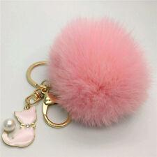 Multi-Color Cute Rabbit Fur Ball Cat Car Keychain Pendant Handbag Keyring