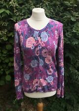 Clements Ribeiro Purple Pink Floral Wool Blend Winter Cardigan Knit (M) 10/12