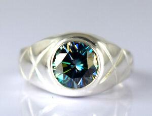 New Design 3.99 Ct Green Diamond Solitaire Men's Ring Wedding Gift