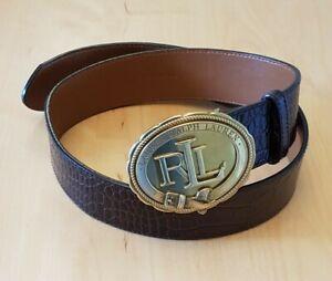 Lauren Ralph Lauren Ladies Brown Leather Belt with Gold Coloured Oval Buckle