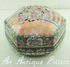 Ancien Chinois Boîte avec couvercle Porcelaine GRAND! Hexagon Contenant Hexagone
