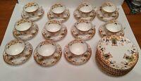 ANTIQUE SAMUEL RADFORD porcelain CUPS SAUCERS + bread plates bowl 35 pieces