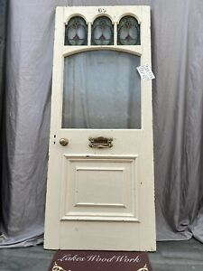 Edwardian /  Victorian ANTIQUE FRONT ENTRANCE DOOR - Stained Leaded Glass