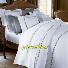 Yves Delorme Laurier White King Flat Sheet Embroidery Laurel Grey Cotton New