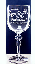 Personalised BIRTHDAY FABULOUS Mirelle Wine Glass Gift for Ladies 30th/40th/50th