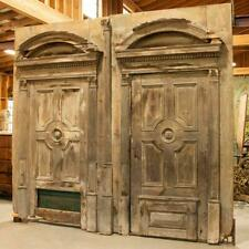 Pair of Massive Antique Salvaged Architectural Doors With Arches , Over 9' Wide