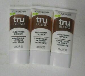3 tube lot COVERGIRL TRU BLEND trublend FACE PRIMER DRY SKIN unsealed
