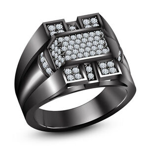 Round White Sim.Diamond Black Gold Finish 925 Silver Men's Wedding Band Ring