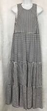 MDS Stripes Dress Long Black And White Sleeveless Full Tiered Nwt Size 0