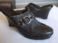 Cole Haan Women's Shoes Brown Leather Mules Wedges Heels Horsebit 8B