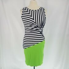 Venus M Dress Striped Block Color Tie Knot Fitted Sleeveless Green Black White