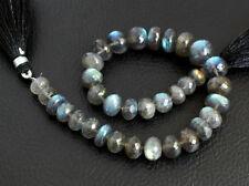 "7-10mm. Natural Labradorite Faceted Rondelle Gemstone Beads 8.5"""