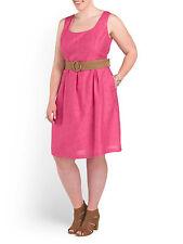NWT Nine West Jazzberry Pink Pleat Waist Linear Burnout Belted Dress 16W $109
