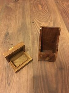 Wooden Pen Holder Make Up Brushes Holder Matching Trinket Box Jewellery Box