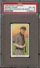 1909-11 T206 HOF Johnny Evers W/Bat Sweet Caporal 350-460 Chicago PSA 4 VG - EX