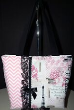 NEW Handmade Pink & Black Paris Eiffel Tower Large Handbag Purse Bag Tote