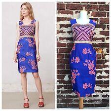 Anthropologie L Rare Payal Pratap Colorful Silk Embroidered Sarita Sheath Dress