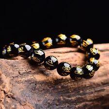 "Tibetan 8mm Black Agate Bead Carve Mantra Om Mani Padme Hum Amulet Bracelet 7.5"""