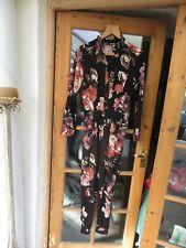 Autograph ladies quality floral jumpsuit long sleeves elasticated waist 8
