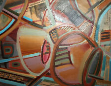 Vintage Abstract cubist oil collage painting signed