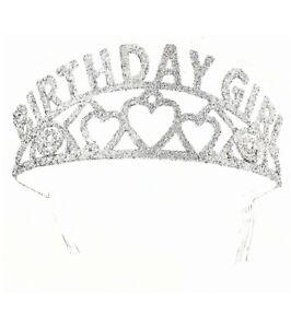 Birthday Girl Tiara for Women, Girls, Teens Headband Silver Iridescent Crown