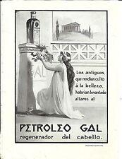 J55-CURIOSA LAMINA PUBLICITARIA PETROLEO GAL PARA EL CABELLO.EN REVERSO RAMBLA