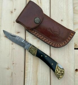 7 INCH UD CUSTOM DAMASCUS STEEL POCKET FOLDING KNIFE WOOD HANDLE 2213