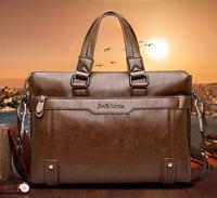 Men's Genuine Leather Handbag Brown Briefcase Laptop Shoulder Bag Messenger Bag