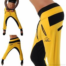 Damen Sporthose Hosen Baggy Jogging Fitness Sport gelb schwarz Neu Gr.M