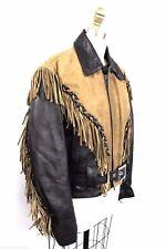 FIRST VTG Genuine Leather Biker Jacket  2 Tone Fringe Belted Tan Black UNISEX S