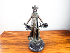Antique French Sculpture Art Nouveau Bronze Lillet August Moreau 3/10 Ed 19th C