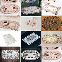 4er Set Tischsets Platzdeckchen Platzset Vintage Bestickt Spitze Deckchen Blumen