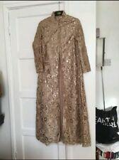 Women's Gold Sequinned Abaya Maxi Jacket Dress Size Small