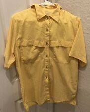 fe57bdaa Mens World Wide Sportsman Yellow Vented Short Sleeve Fishing Shirt Size M  Medium