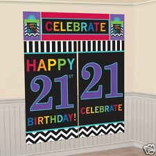 6FT HAPPY 21ST BIRTHDAY PARTY SCENE SETTER WALL BANNER DECORATION KIT PHOTO PROP