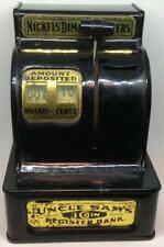 Vtg Uncle Sam's 3-coin cash register bank mechanical tin toy Western Stamping