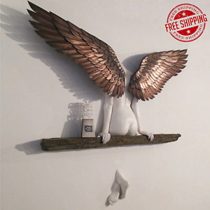 Angel Wings Art Sculpture Wall 3D Statue for Living Room Bedroom Decoration Home