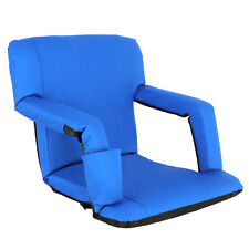 EXTRA WIDE Portable Multiuse Adjustable Recliner Blue Stadium Seat W/ Cup Pocket