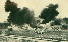 WWI Postcard French & American Officers Flamethrowing Germans Chicago Daily News